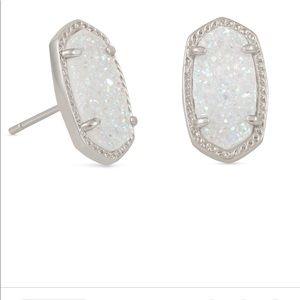 Ellie Silver Stud Earrings In Iridescent Drusy